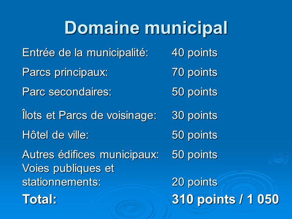 Domaine municipal Entrée de la municipalité: 40 points Parcs principaux: 70 points Parc secondaires: 50 points Îlots et Parcs de voisinage: 30 points