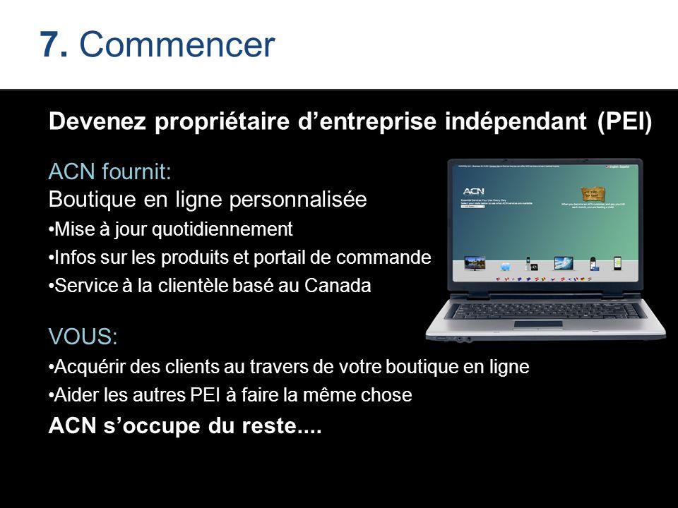 7. Commencer Devenez propriétaire d'entreprise indépendant (PEI) ACN fournit: Boutique en ligne personnalisée Mise à jour quotidiennement Infos sur le