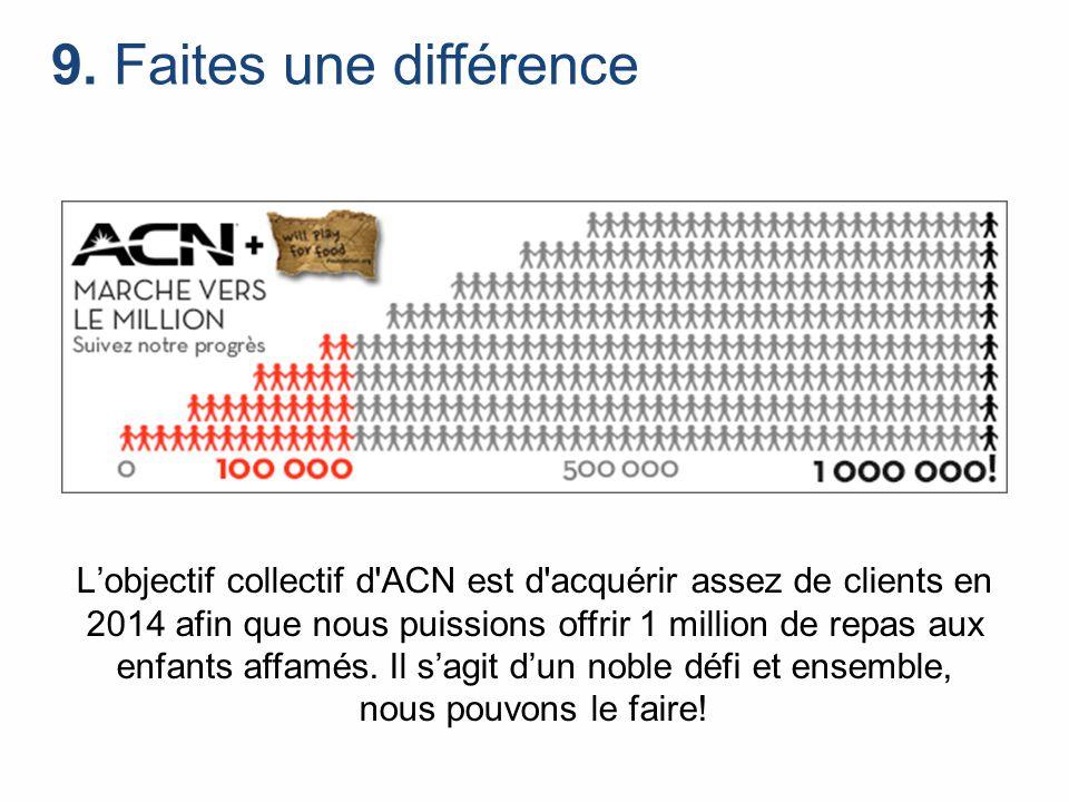 9. Faites une différence L'objectif collectif d'ACN est d'acquérir assez de clients en 2014 afin que nous puissions offrir 1 million de repas aux enfa