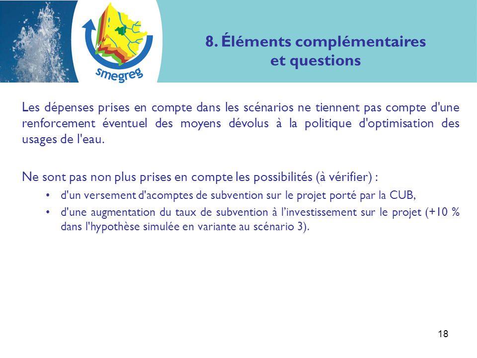 8. Éléments complémentaires et questions Les dépenses prises en compte dans les scénarios ne tiennent pas compte d'une renforcement éventuel des moyen