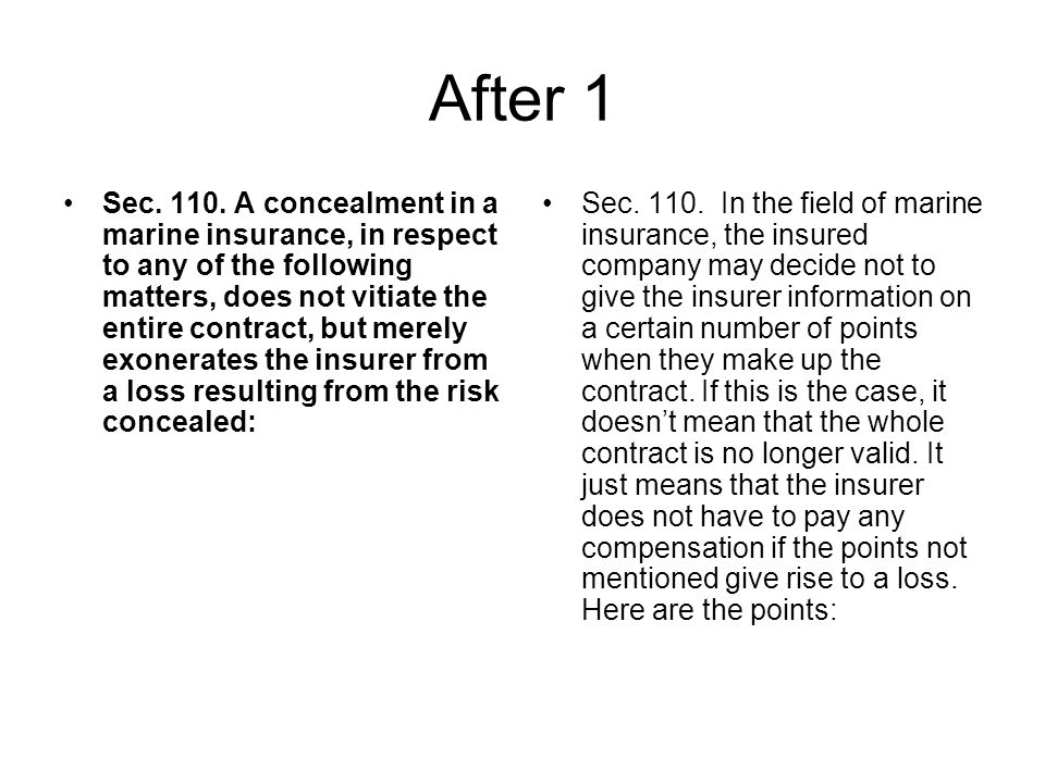 After 1 Sec. 110. A concealment in a marine insurance, in respect to any of the following matters, does not vitiate the entire contract, but merely ex