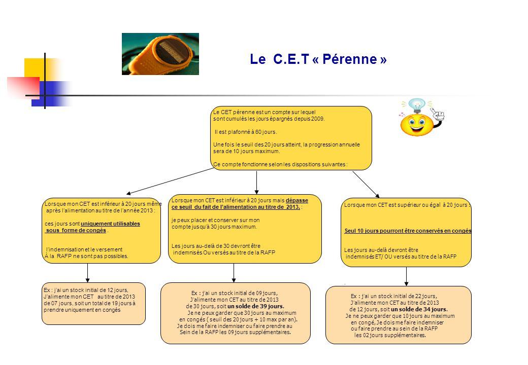 Le C.E.T « Pérenne » Le CET pérenne est un compte sur lequel sont cumulés les jours épargnés depuis 2009.