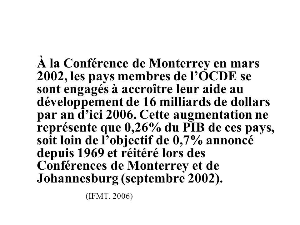 À la Conférence de Monterrey en mars 2002, les pays membres de l'OCDE se sont engagés à accroître leur aide au développement de 16 milliards de dollars par an d'ici 2006.