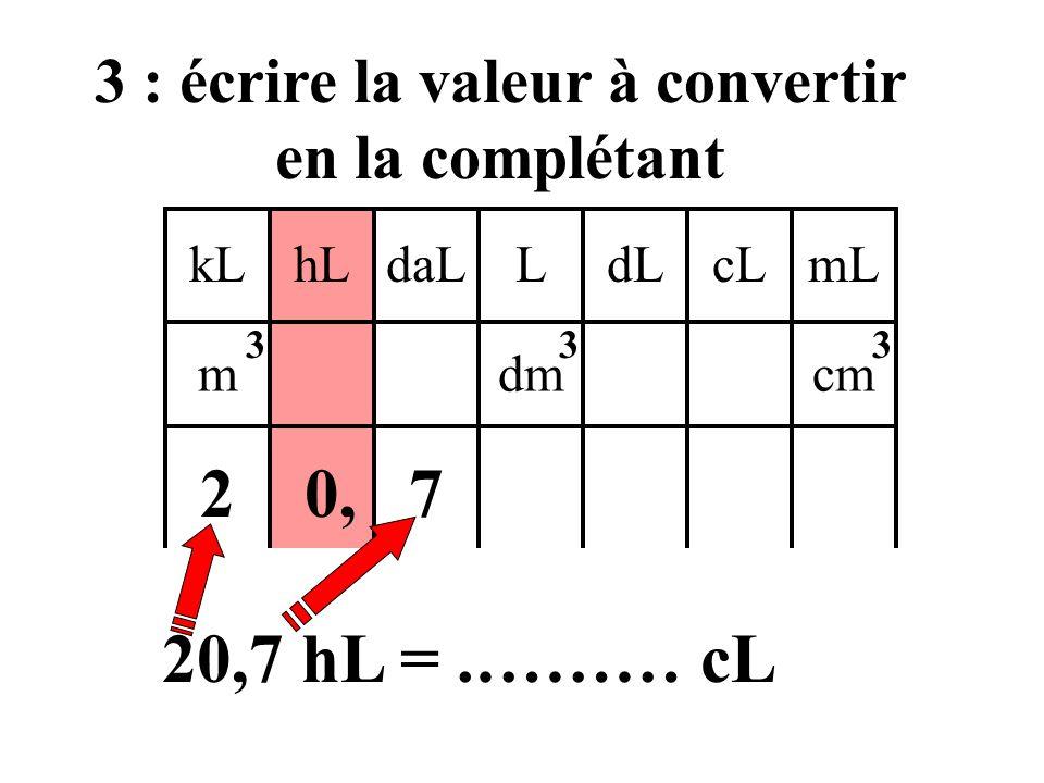 kLdaLhLLcLdLmL mdmcm 333 2 : mettre le chiffre de l'unité dans cette colonne ainsi que la virgule 0, 20,7 hL =.……… cL