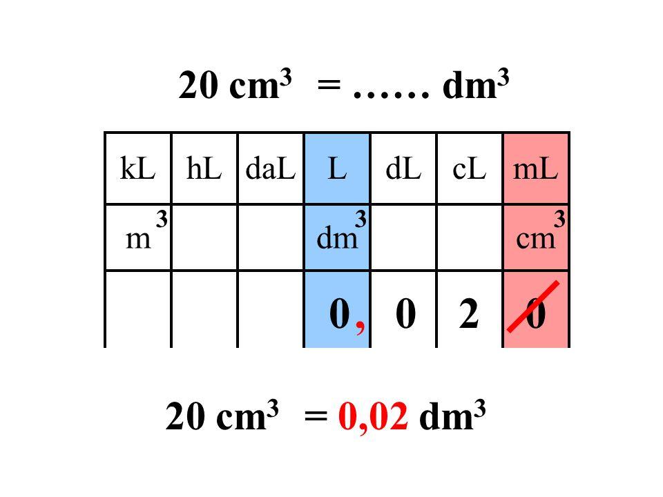 20 cm 3 = …… dm 3 Donne la bonne réponse