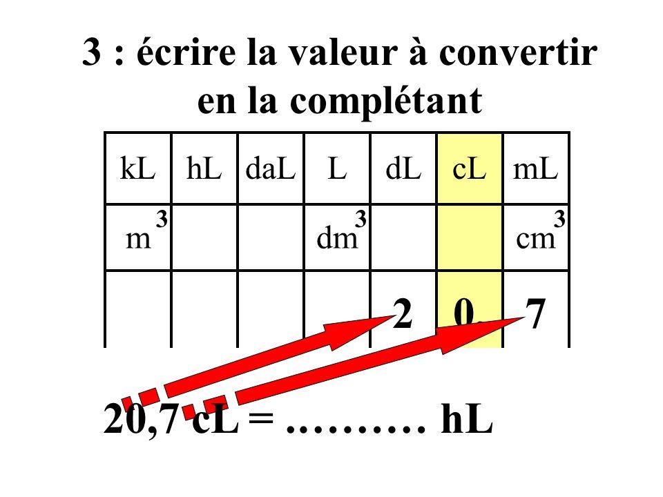 kLdaLhLLcLdLmL mdmcm 333 2 : mettre le chiffre de l'unité dans cette colonne ainsi que la virgule 0, 20,7 cL =.……… hL