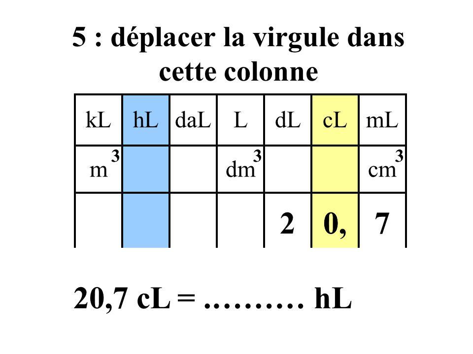 4 : identifier l'unité d'arrivée kLdaLhLLcLdLmL mdmcm 333 0,27 20,7 cL =.……… hL