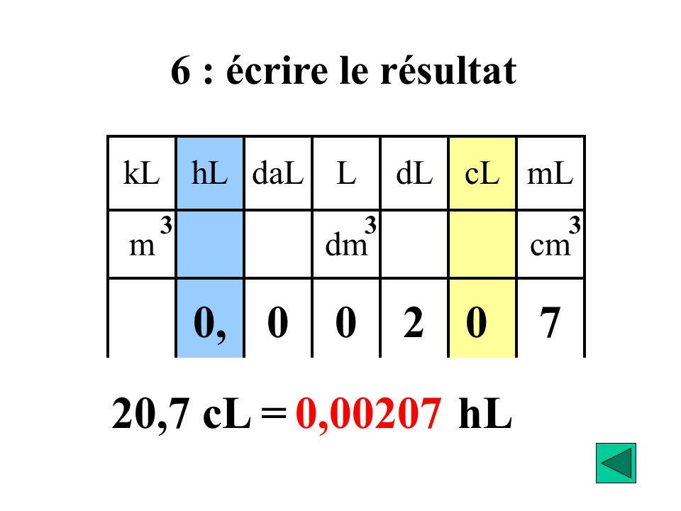 0 kLdaLhLLcLdLmL mdmcm 333 270 00, 20,7 cL =.……… hL