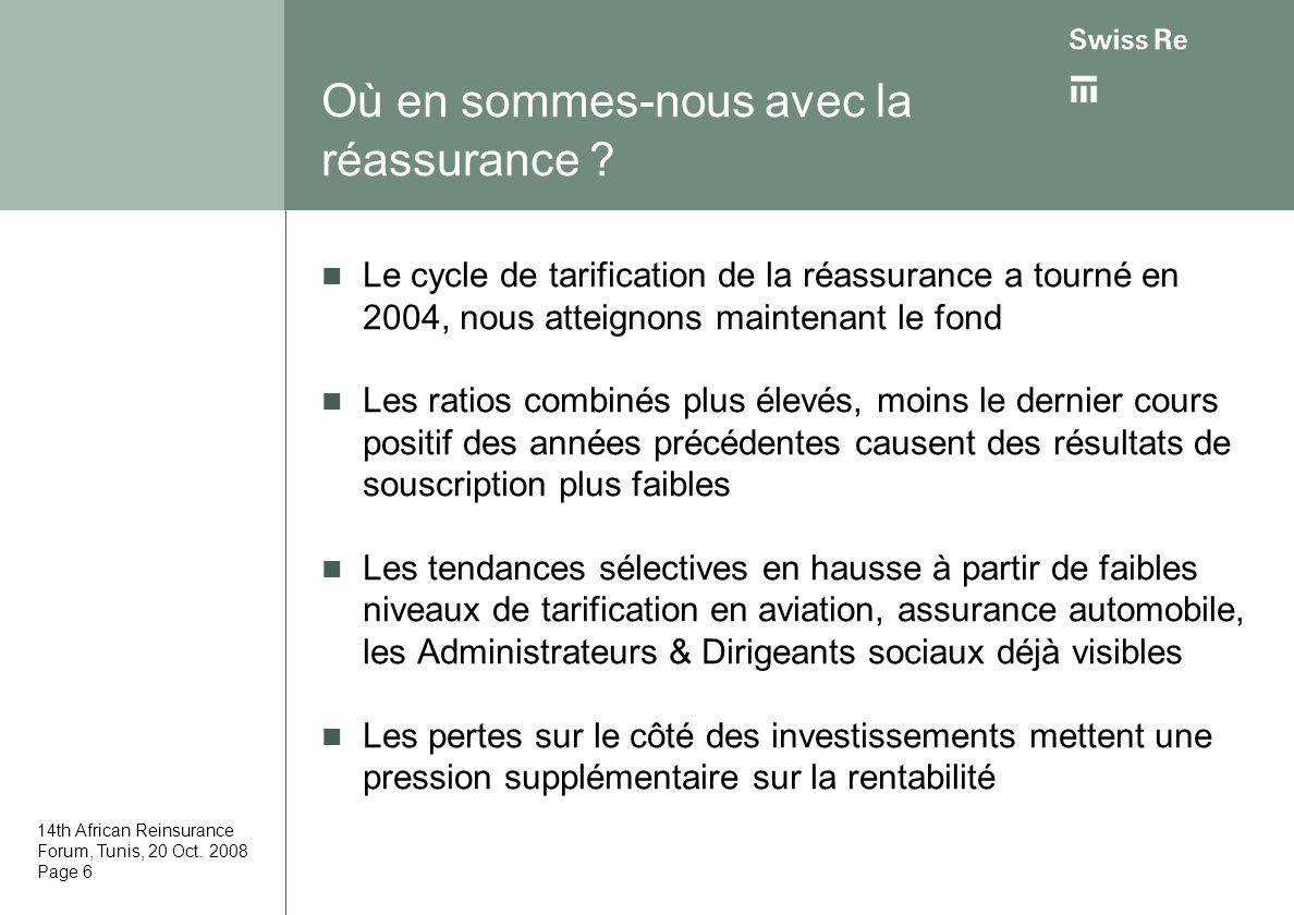 14th African Reinsurance Forum, Tunis, 20 Oct. 2008 Page 6 Où en sommes-nous avec la réassurance ? Le cycle de tarification de la réassurance a tourné