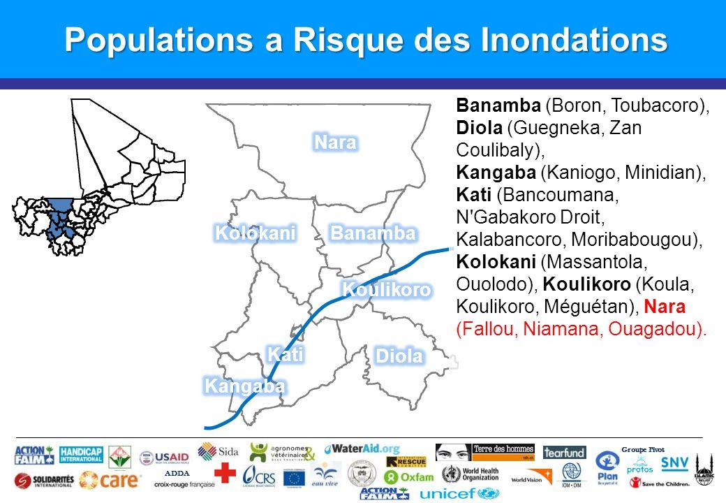 Groupe Pivot ADDA Populations a Risque des Inondations Banamba (Boron, Toubacoro), Diola (Guegneka, Zan Coulibaly), Kangaba (Kaniogo, Minidian), Kati (Bancoumana, N Gabakoro Droit, Kalabancoro, Moribabougou), Kolokani (Massantola, Ouolodo), Koulikoro (Koula, Koulikoro, Méguétan), Nara (Fallou, Niamana, Ouagadou).
