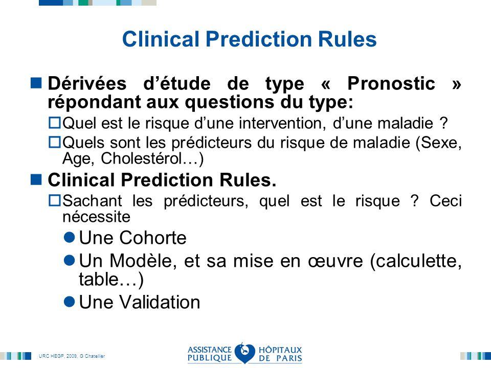 URC HEGP, 2009, G Chatellier Clinical Prediction Rules Dérivées d'étude de type « Pronostic » répondant aux questions du type:  Quel est le risque d'une intervention, d'une maladie .