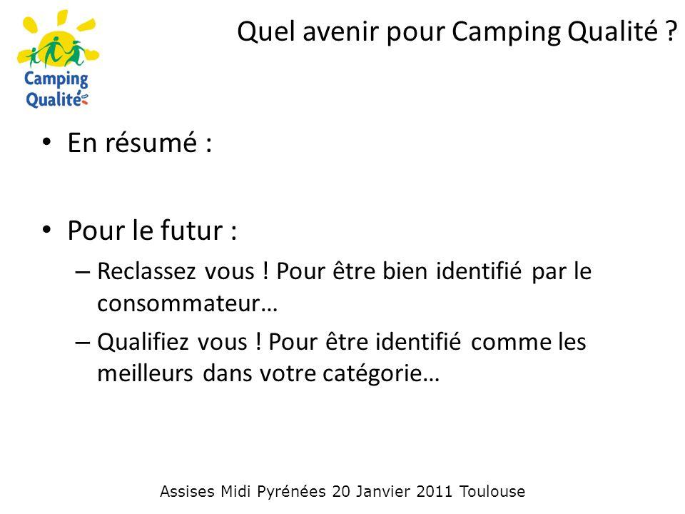 Quel avenir pour Camping Qualité . En résumé : Pour le futur : – Reclassez vous .
