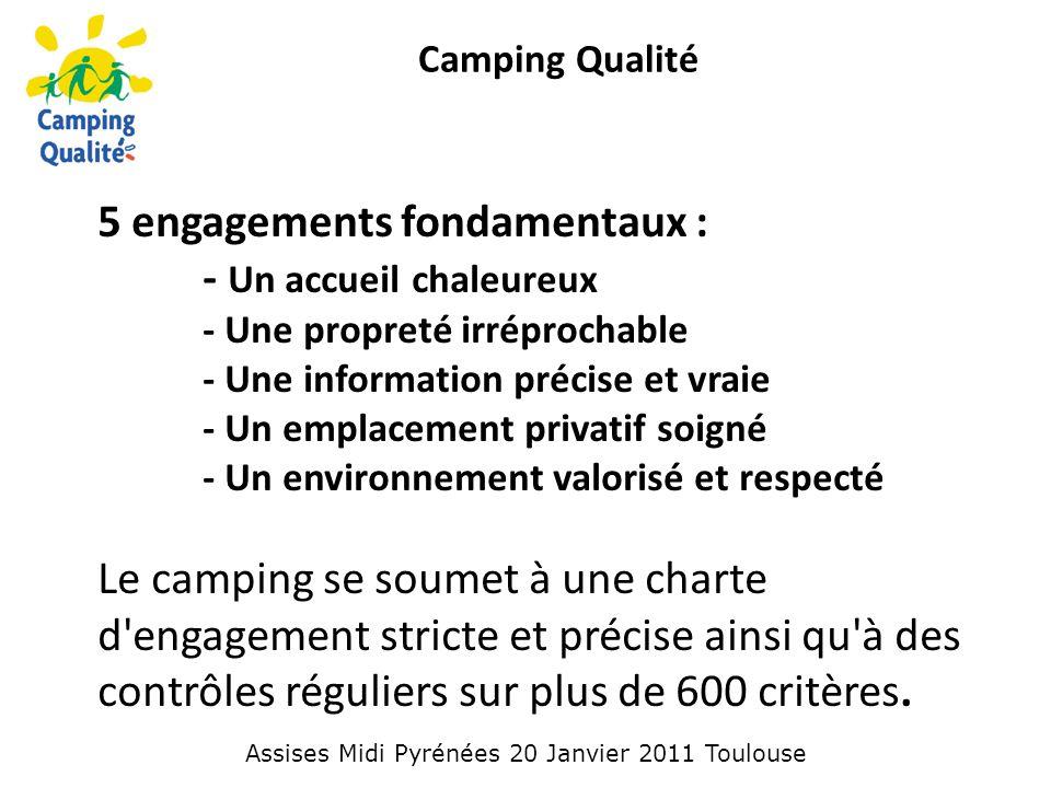 Camping Qualité 5 engagements fondamentaux : - Un accueil chaleureux - Une propreté irréprochable - Une information précise et vraie - Un emplacement privatif soigné - Un environnement valorisé et respecté Le camping se soumet à une charte d engagement stricte et précise ainsi qu à des contrôles réguliers sur plus de 600 critères.