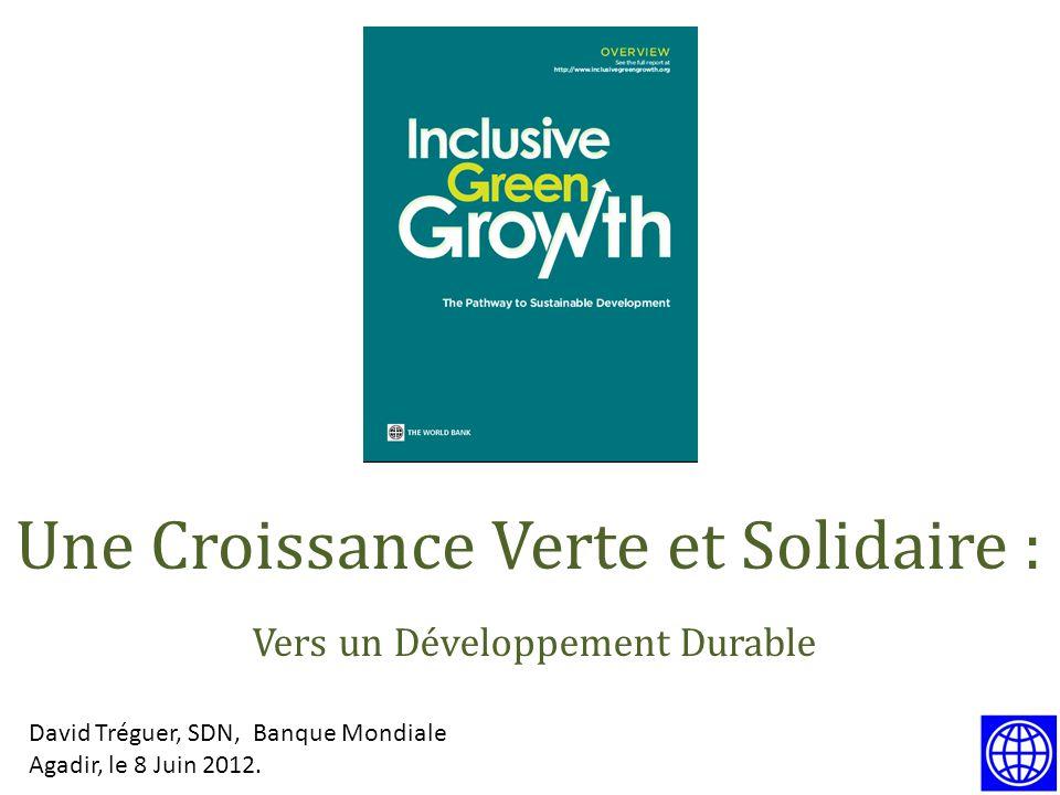 David Tréguer, SDN, Banque Mondiale Agadir, le 8 Juin 2012. Une Croissance Verte et Solidaire : Vers un Développement Durable
