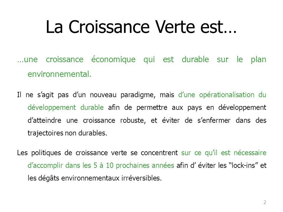 La Croissance Verte est… …une croissance économique qui est durable sur le plan environnemental. Il ne s'agit pas d'un nouveau paradigme, mais d'une o