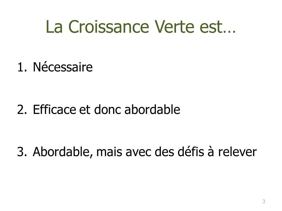 La Croissance Verte est… 1.Nécessaire 2.Efficace et donc abordable 3.Abordable, mais avec des défis à relever 3
