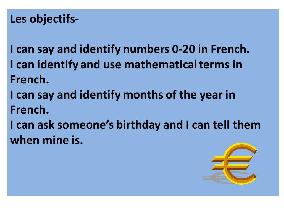 Sortez vos cahiers français (ou un papier) et copiez les numéros français… Merci <3 Madame Joseph 1 - un 7- sept 2 –deux8- huit 3 –trois 9- neuf 4 – quatre10- dix 5- cinq11- onze 6- six12 - douze