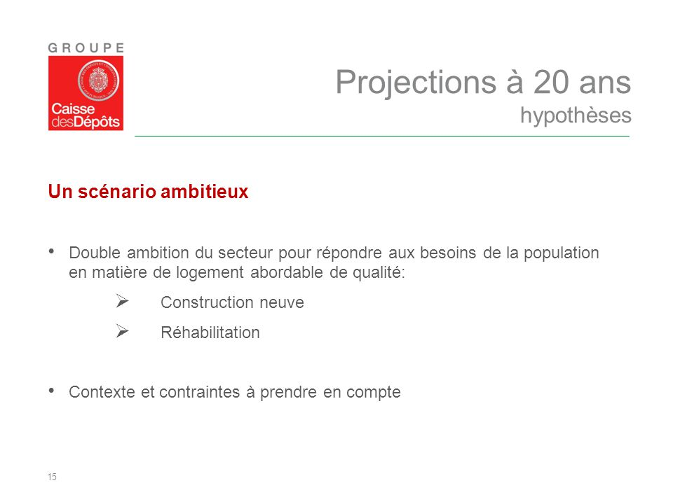 15 Un scénario ambitieux Double ambition du secteur pour répondre aux besoins de la population en matière de logement abordable de qualité:  Construc