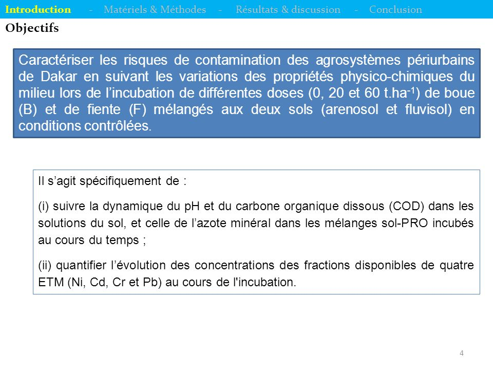 15 Evolutions des concentrations en Cr (chrome) disponible Introduction - Matériels & Méthodes - Résultats & discussion - Conclusion  Effets sols & traitements : différences significatives (p < 0,0001) ;  Disponibilité plus élevée du Cr dans le fluvisol ;  Classement : F-60 > B-60 > F-20 > B-20 > Témoin (classement presque similaire pour le COD) ;  Croissance du [Cr disponible]  décroissance de [COD].