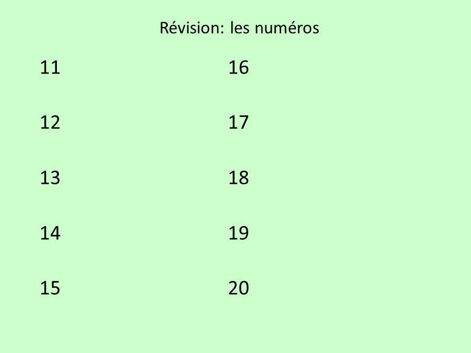 Révision: les numéros 1116 1217 1318 1419 1520