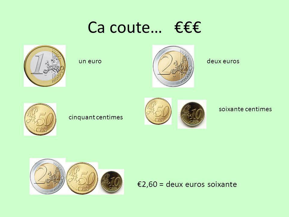 Ca coute… €€€ un eurodeux euros cinquant centimes soixante centimes €2,60 = deux euros soixante