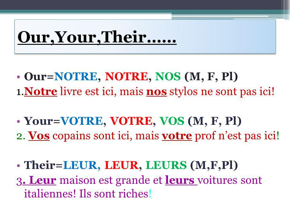 Time to try.Use the pronoun that fits with the subject: 1.J'adore _____ classe d'anglais.