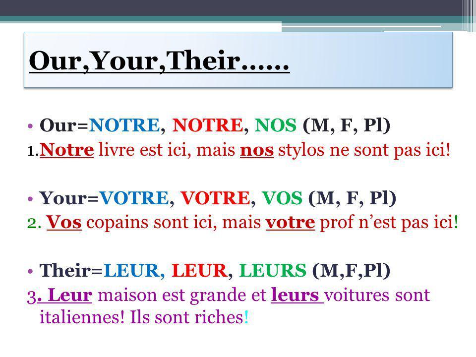 Our,Your,Their…… Our=NOTRE, NOTRE, NOS (M, F, Pl) 1.Notre livre est ici, mais nos stylos ne sont pas ici! Your=VOTRE, VOTRE, VOS (M, F, Pl) 2. Vos cop