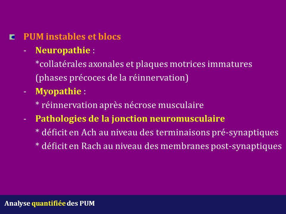 PUM instables et blocs -Neuropathie : *collatérales axonales et plaques motrices immatures (phases précoces de la réinnervation) -Myopathie : * réinne