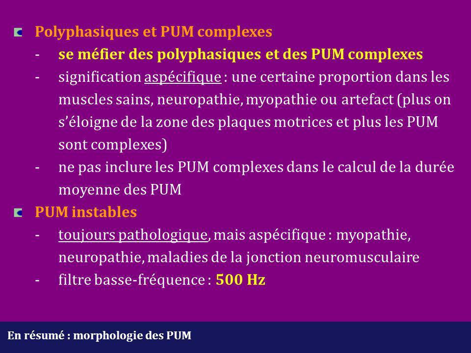 En résumé : morphologie des PUM Polyphasiques et PUM complexes - se méfier des polyphasiques et des PUM complexes - signification aspécifique : une ce