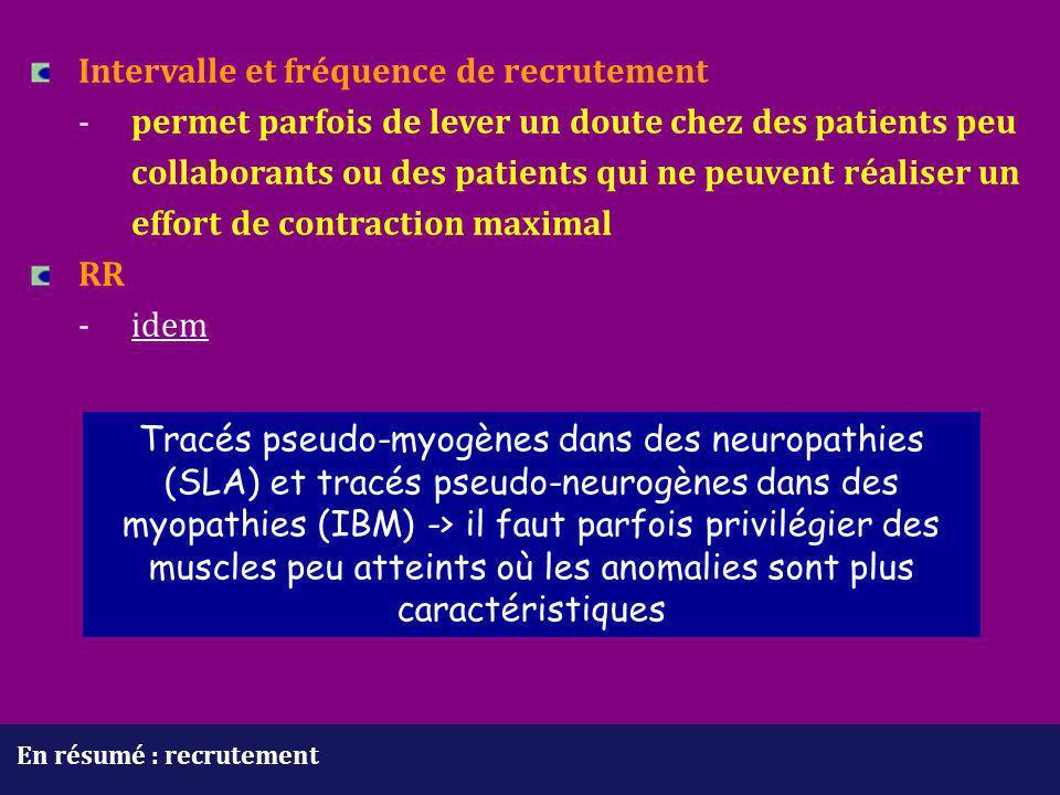 En résumé : recrutement Intervalle et fréquence de recrutement - permet parfois de lever un doute chez des patients peu collaborants ou des patients q