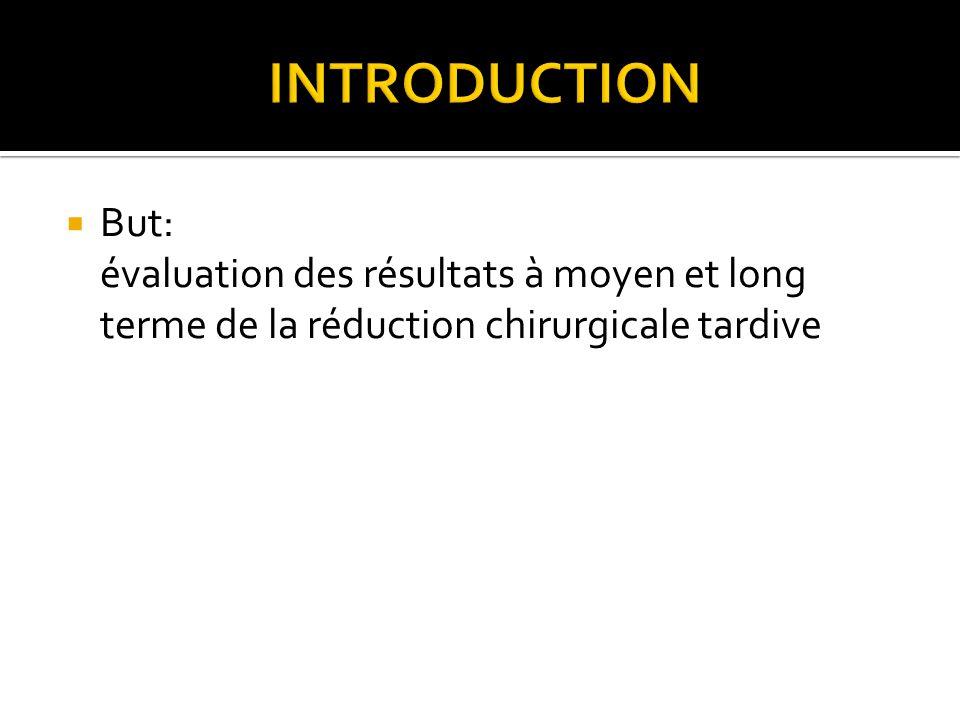  But: évaluation des résultats à moyen et long terme de la réduction chirurgicale tardive