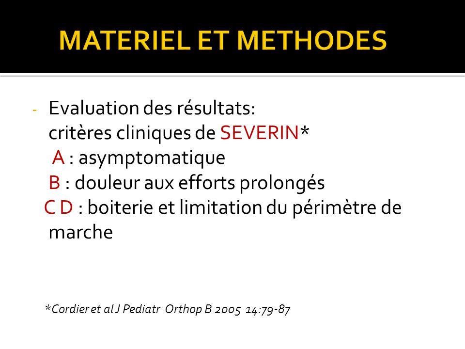 - Evaluation des résultats: critères cliniques de SEVERIN* A : asymptomatique B : douleur aux efforts prolongés C D : boiterie et limitation du périmètre de marche *Cordier et al J Pediatr Orthop B 2005 14:79-87
