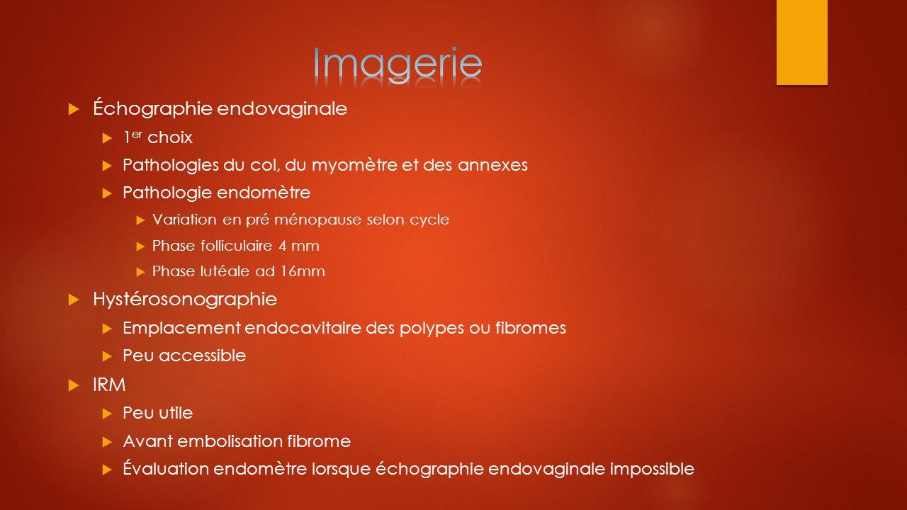  Échographie endovaginale  1 er choix  Pathologies du col, du myomètre et des annexes  Pathologie endomètre  Variation en pré ménopause selon cyc