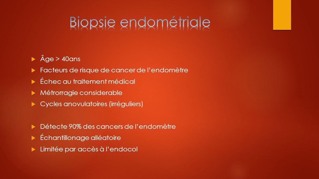  Âge > 40ans  Facteurs de risque de cancer de l'endomètre  Échec au traitement médical  Métrorragie considerable  Cycles anovulatoires (irrégulie