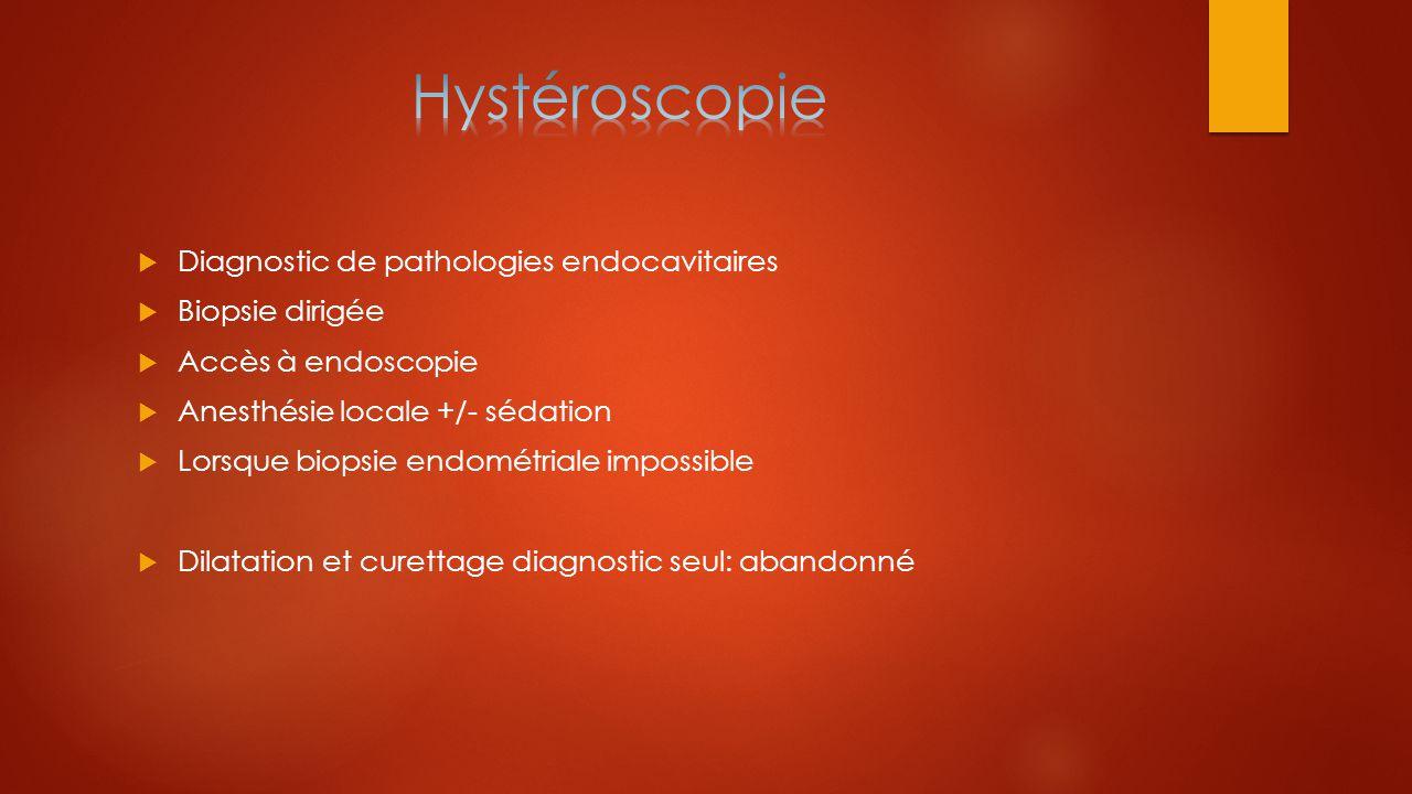  Diagnostic de pathologies endocavitaires  Biopsie dirigée  Accès à endoscopie  Anesthésie locale +/- sédation  Lorsque biopsie endométriale impo