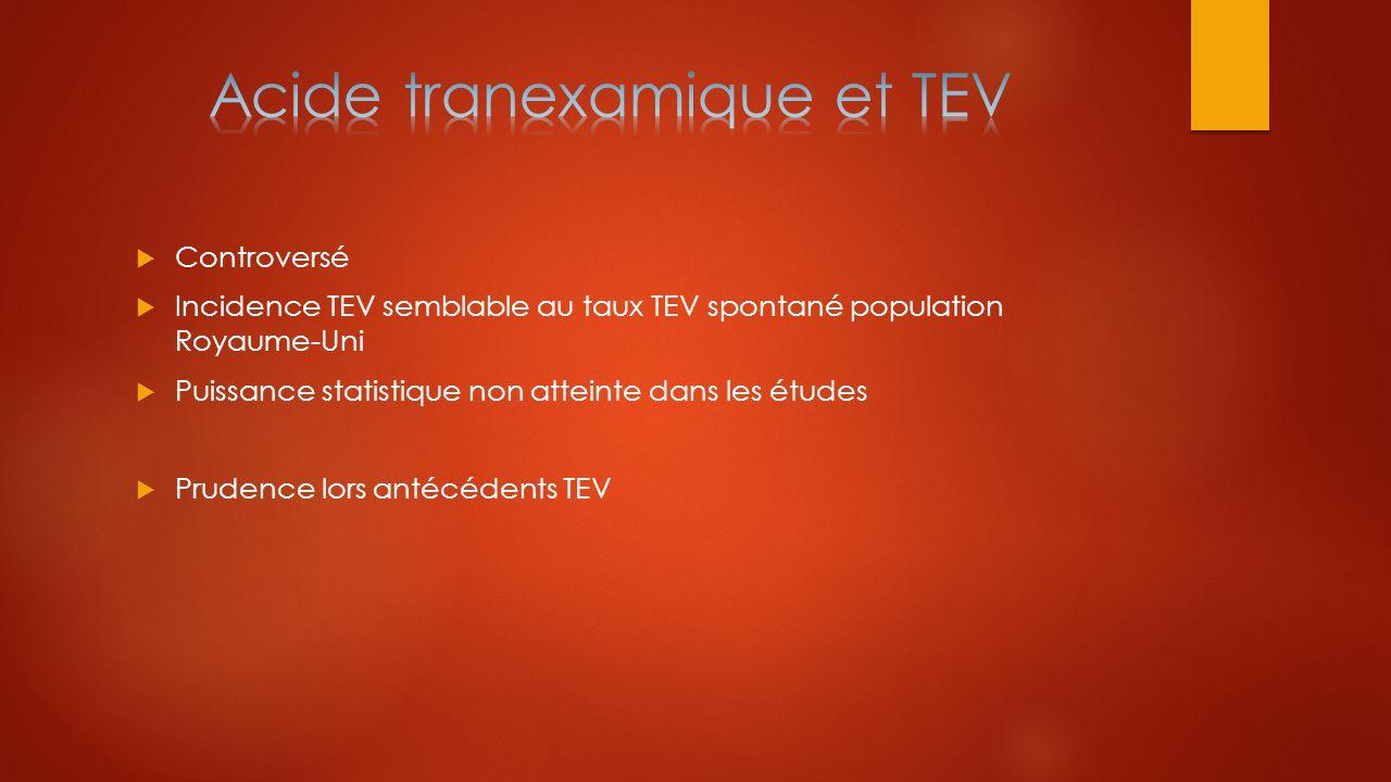  Controversé  Incidence TEV semblable au taux TEV spontané population Royaume-Uni  Puissance statistique non atteinte dans les études  Prudence lo
