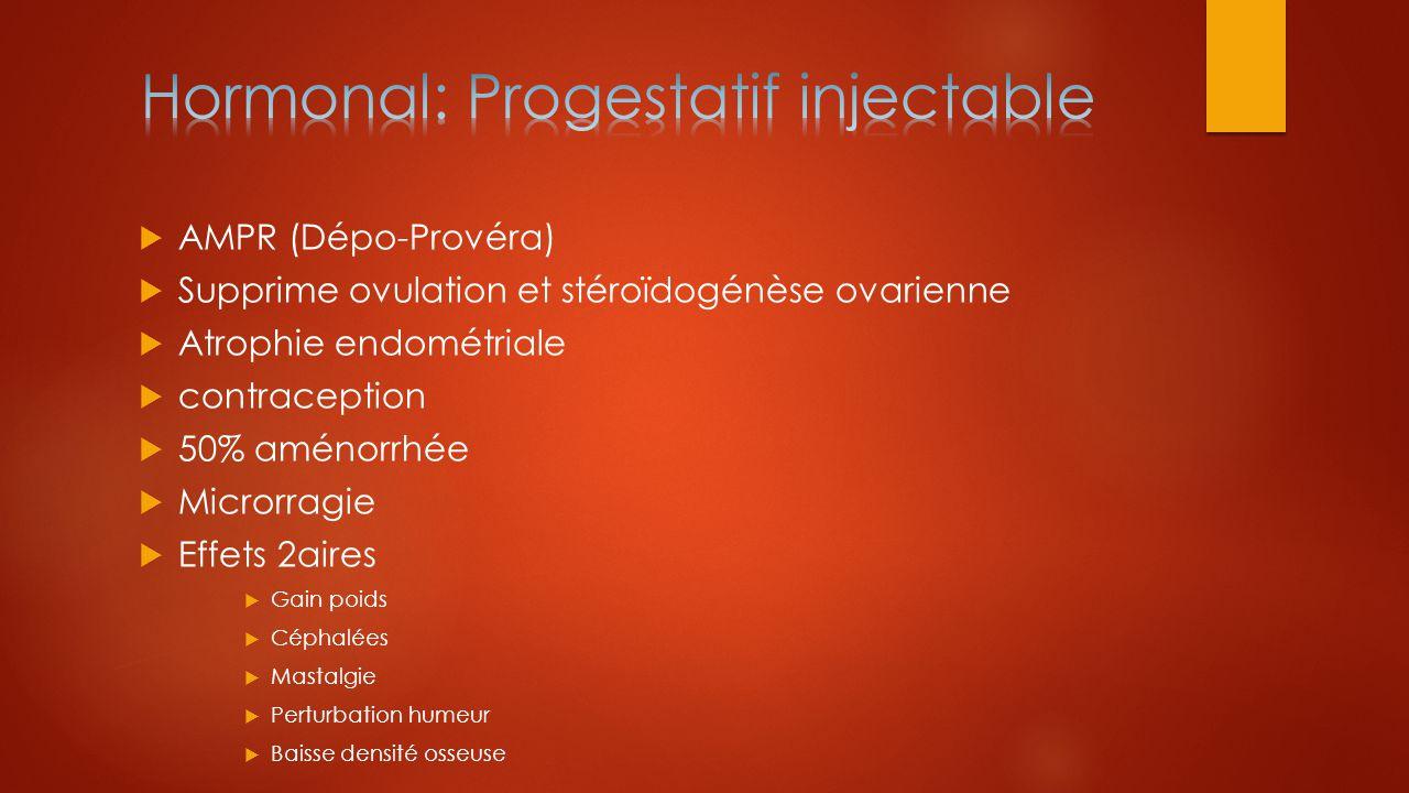  AMPR (Dépo-Provéra)  Supprime ovulation et stéroïdogénèse ovarienne  Atrophie endométriale  contraception  50% aménorrhée  Microrragie  Effets