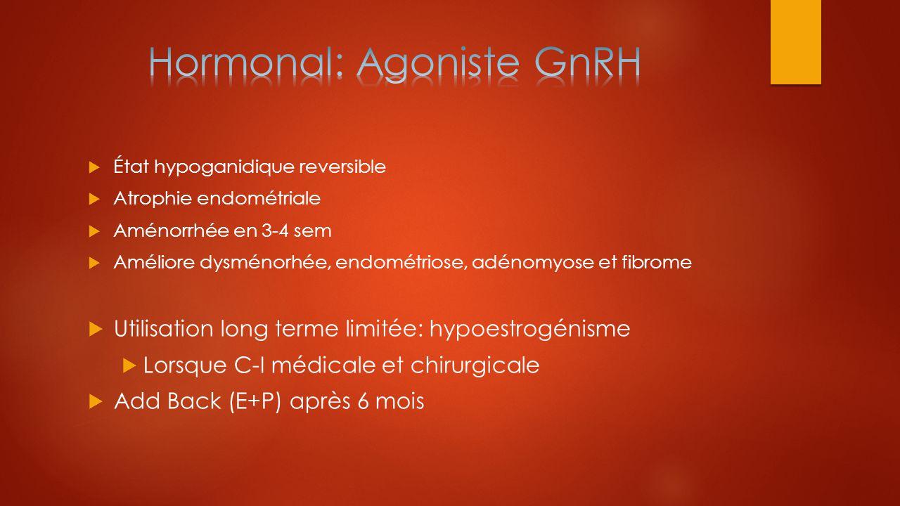  État hypoganidique reversible  Atrophie endométriale  Aménorrhée en 3-4 sem  Améliore dysménorhée, endométriose, adénomyose et fibrome  Utilisat
