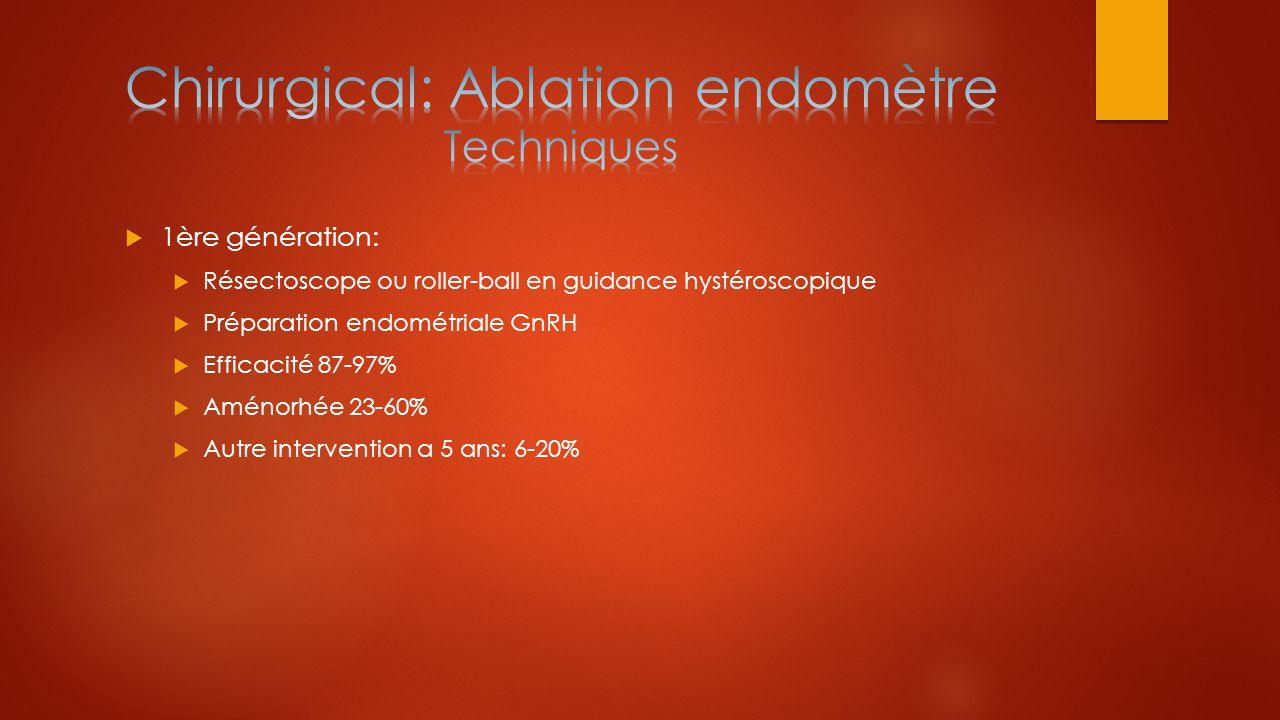  1ère génération:  Résectoscope ou roller-ball en guidance hystéroscopique  Préparation endométriale GnRH  Efficacité 87-97%  Aménorhée 23-60% 