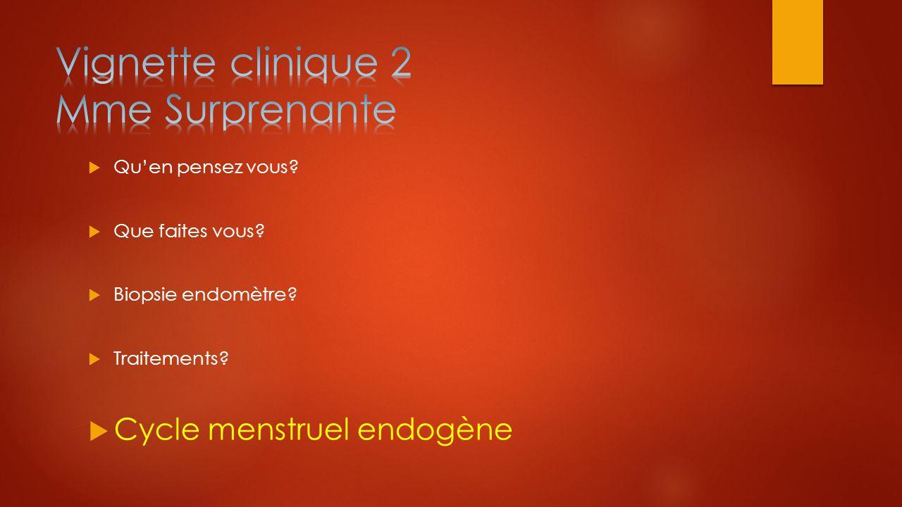  Qu'en pensez vous?  Que faites vous?  Biopsie endomètre?  Traitements?  Cycle menstruel endogène