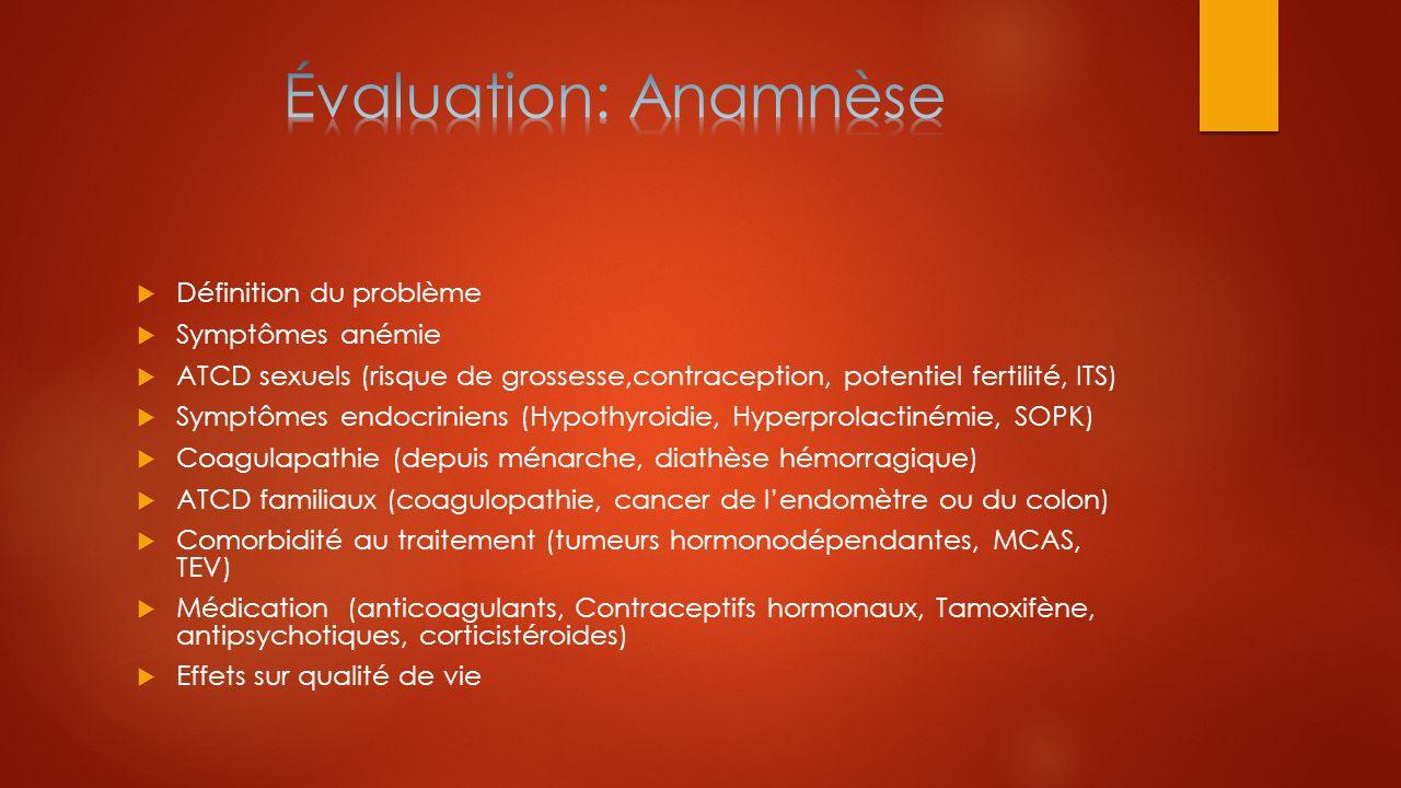  Définition du problème  Symptômes anémie  ATCD sexuels (risque de grossesse,contraception, potentiel fertilité, ITS)  Symptômes endocriniens (Hyp