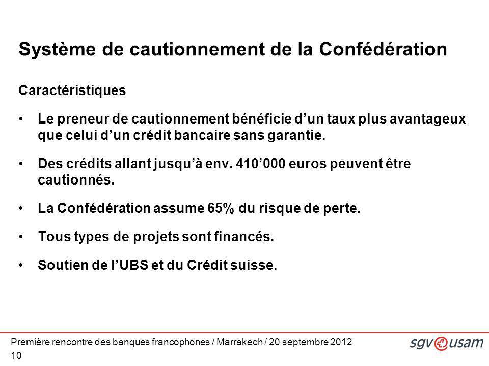 Première rencontre des banques francophones / Marrakech / 20 septembre 2012 10 Système de cautionnement de la Confédération Caractéristiques Le preneu