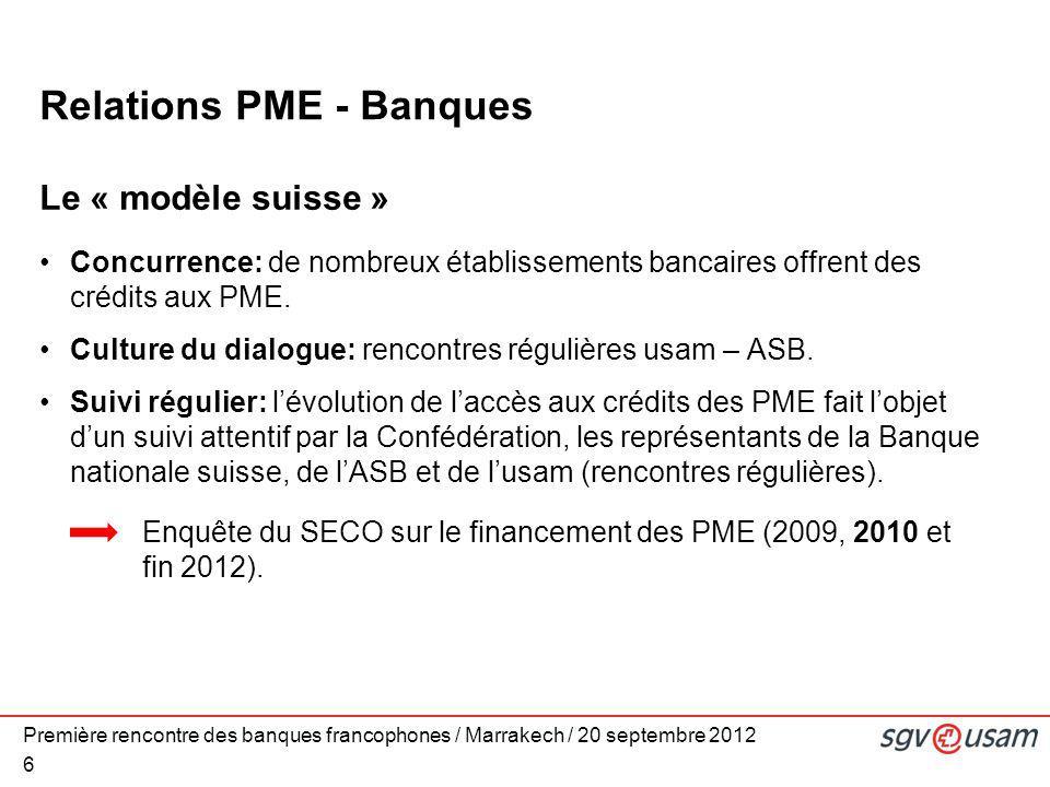 Première rencontre des banques francophones / Marrakech / 20 septembre 2012 6 Relations PME - Banques Le « modèle suisse » Concurrence: de nombreux établissements bancaires offrent des crédits aux PME.