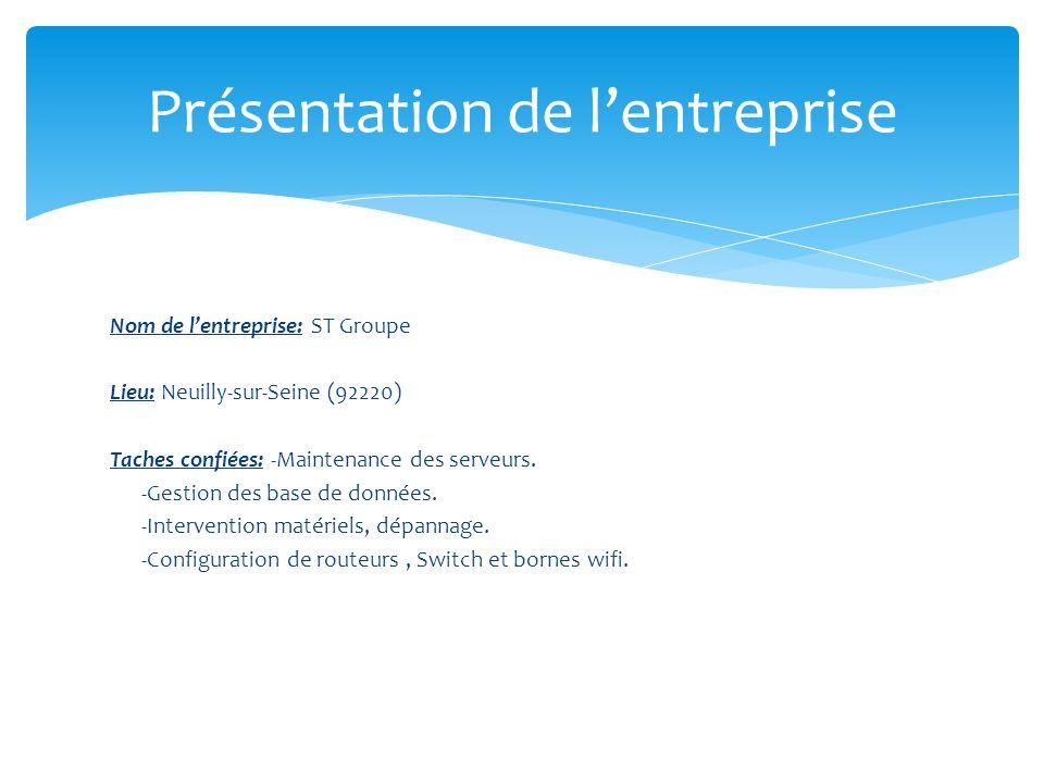 Nom de l'entreprise: ST Groupe Lieu: Neuilly-sur-Seine (92220) Taches confiées: -Maintenance des serveurs.