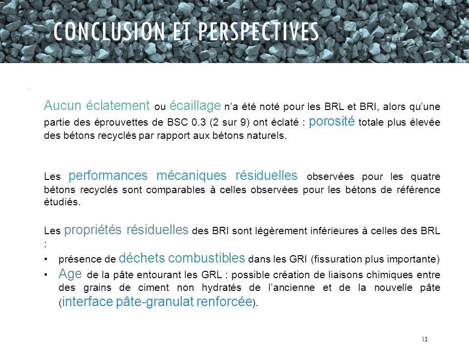 CONCLUSION ET PERSPECTIVES Les performances mécaniques résiduelles observées pour les quatre bétons recyclés sont comparables à celles observées pour