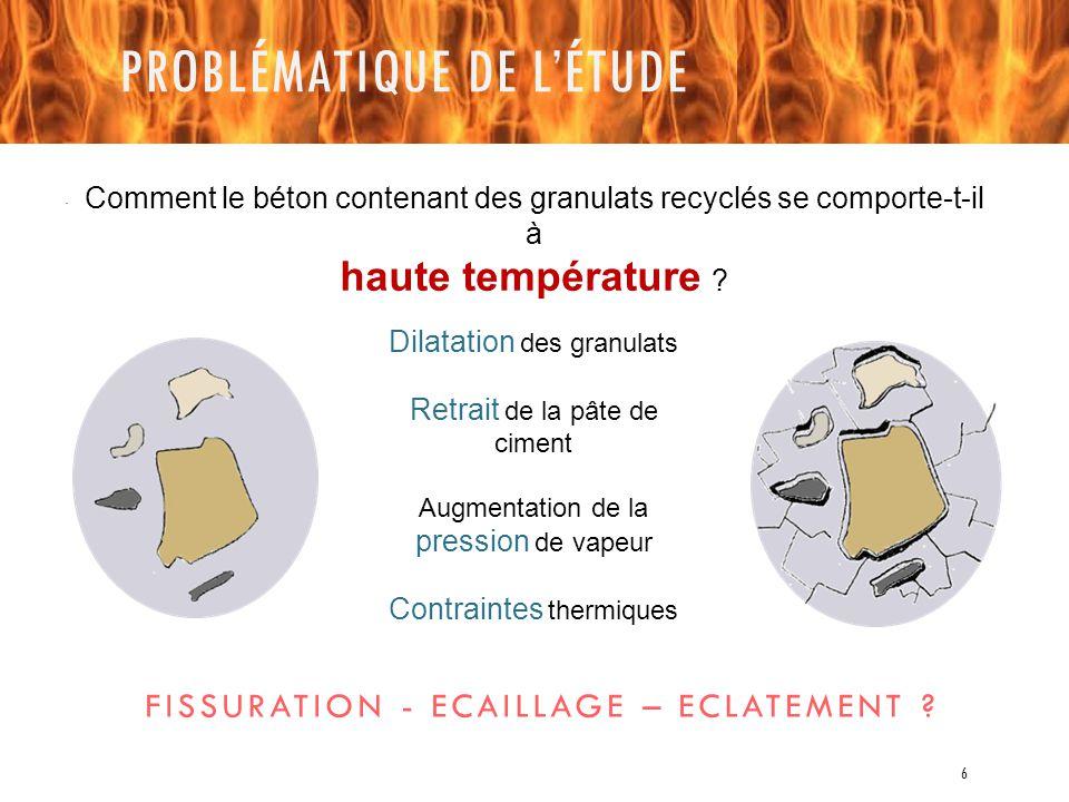 PROBLÉMATIQUE DE L'ÉTUDE Dilatation des granulats Retrait de la pâte de ciment Augmentation de la pression de vapeur Contraintes thermiques FISSURATIO