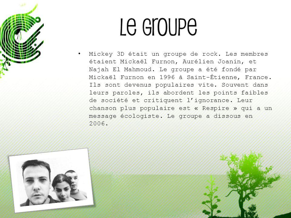 Mickey 3D était un groupe de rock. Les membres étaient Mickaël Furnon, Aurélien Joanin, et Najah El Mahmoud. Le groupe a été fondé par Mickaël Furnon