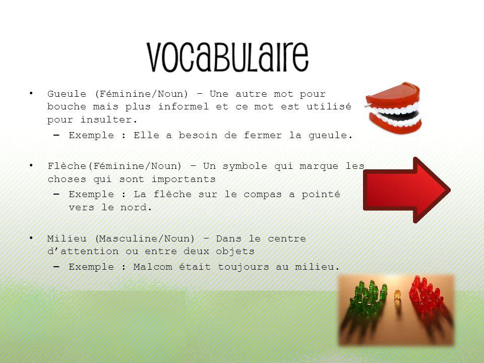 Gueule (Féminine/Noun) – Une autre mot pour bouche mais plus informel et ce mot est utilisé pour insulter. – Exemple : Elle a besoin de fermer la gueu