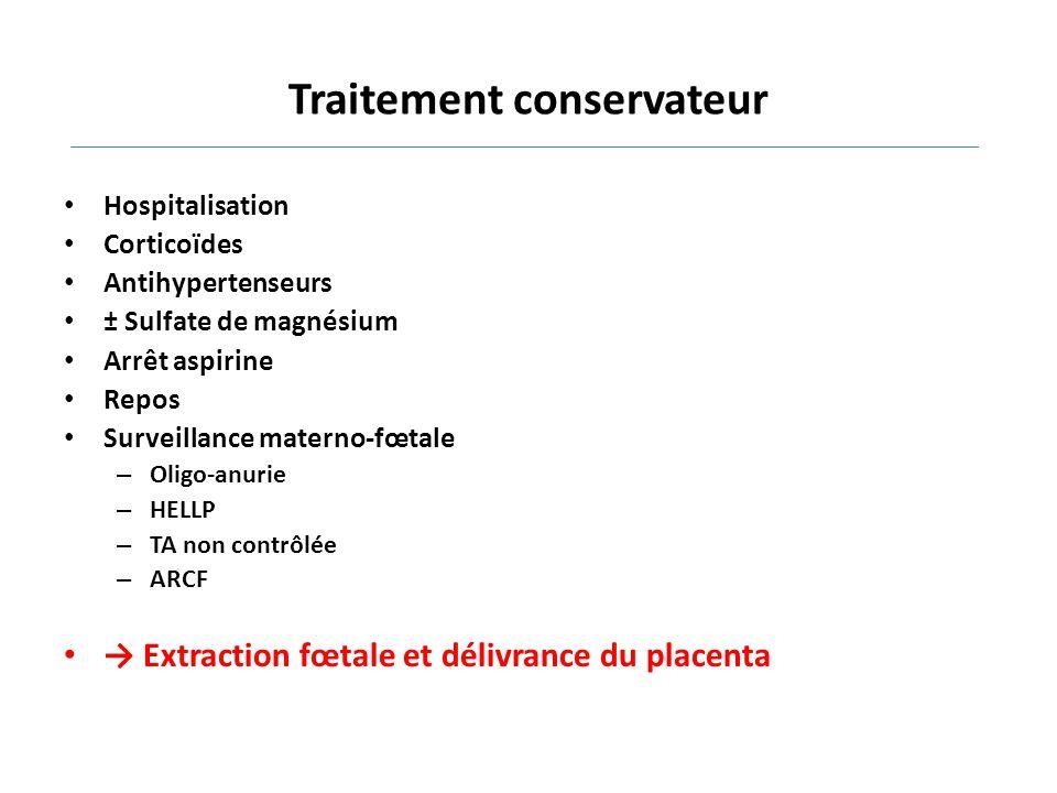 Traitement conservateur Hospitalisation Corticoïdes Antihypertenseurs ± Sulfate de magnésium Arrêt aspirine Repos Surveillance materno-fœtale – Oligo-
