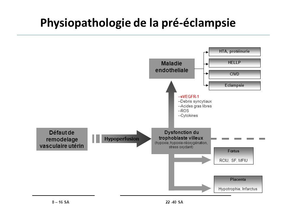 Fœtus RCIU, SF, MFIU Placenta Hypotrophie, Infarctus 22 -40 SA Hypoperfusion Dysfonction du trophoblaste villeux (hypoxie, hypoxie-réoxygénation, stre